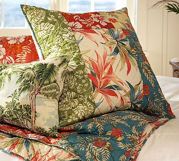 Hawaii inspiratsioon Beach Palm Patchwork Quilt & Sham