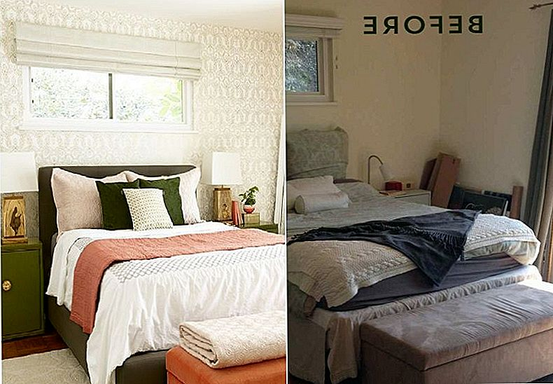 Before and After: Bedroom Makeover with Moss and Coral Accents