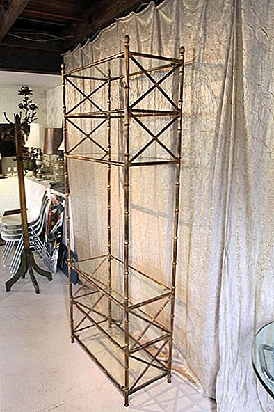 Gilt Metal Faux Bamboo Etagere