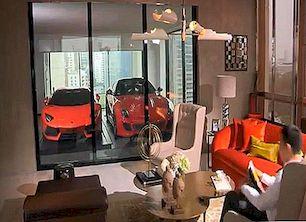 Exkluzivní bytový dům, kde můžete zaparkovat auto z obývacího pokoje [Video]