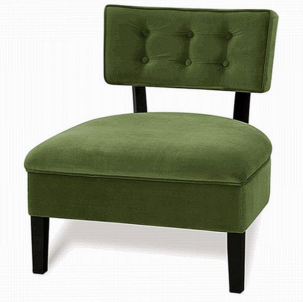Curve Button Back Chair in marrone cioccolato e verde